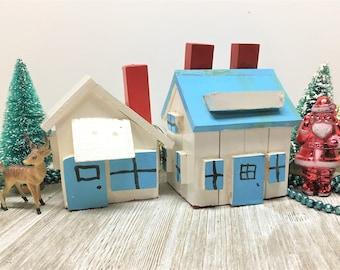 Sale! Vintage Folk Art Village Wooden Handmade Cottage and Georgian House White Blue Red