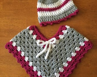 Infant to 6months Poncho and Beanie
