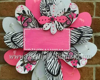 Can be Personalized!  Zebra Blitz w/Hot Pink Flip Flop Wreath Handmade and Beautiful Beach Door Decor Wall Hanging Pool Girls Room