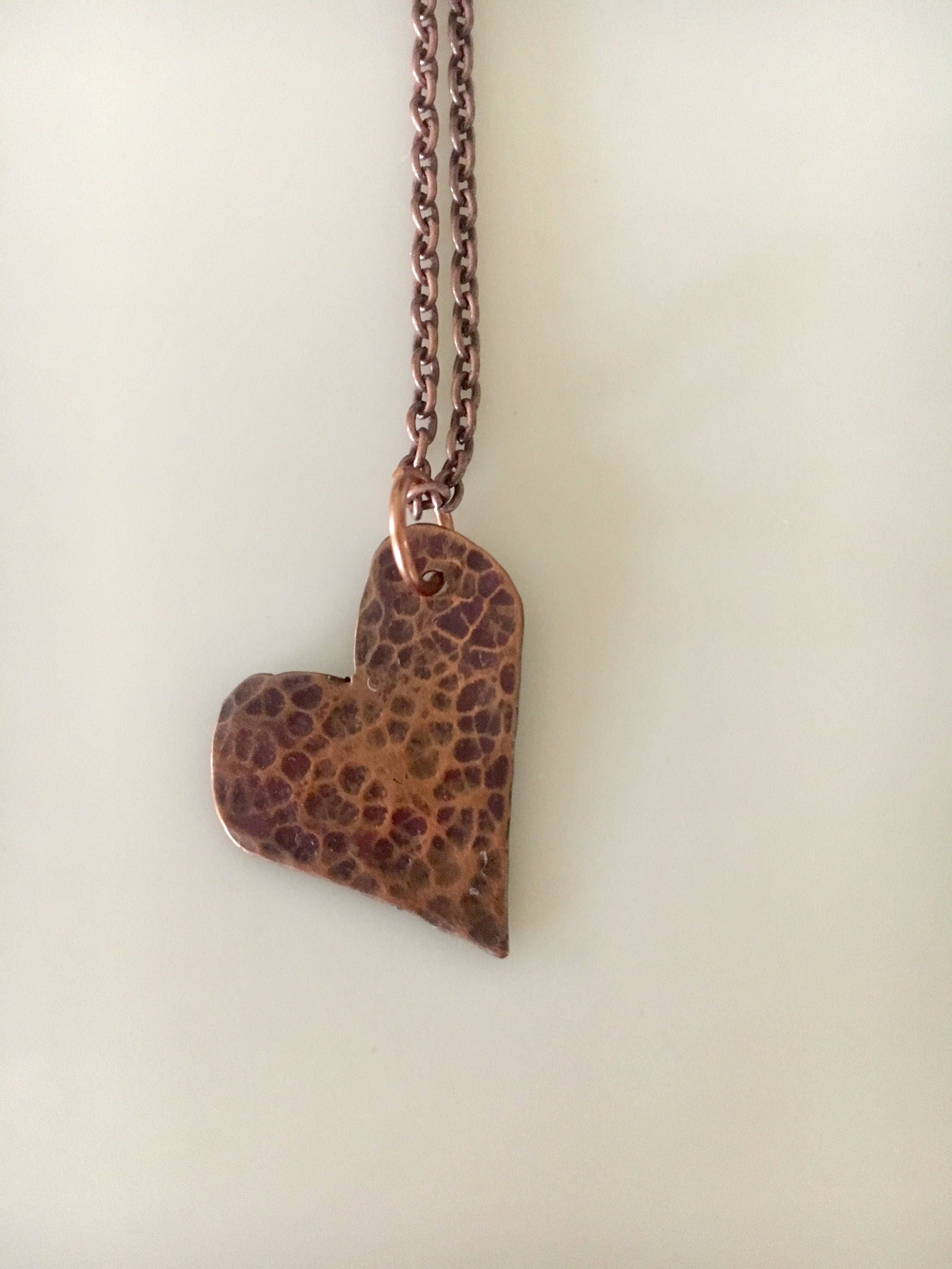 Copper Heart Pendant, Sweetheart, Wire Wrapped Heart Necklace ...
