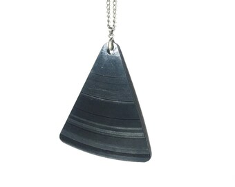 Vinyl Record Pendant | Long  Necklace | Black Triangle | Musical Jewellery