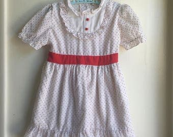 VTG Buttercup Girl Party Dress Red White Swiss Dots Sz 3-4Y