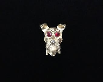 Vintage Scottish Terrier Brooch with Red Crystal Eyes (JT2)