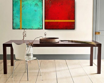 "Acrylic Painting Set Red and Turquoise painting on canvas, Original Handmade Large Size ""Twins"" 48x24x0,7 by M.Schöneberg"