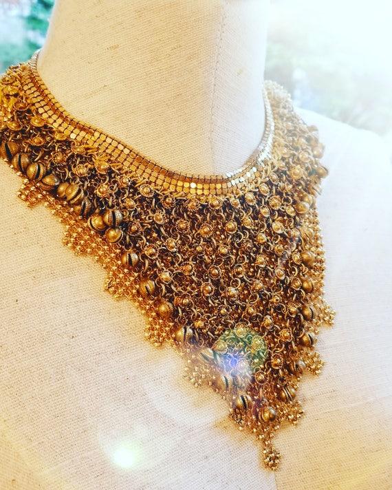 Vintage Gold on Gold Mesh Bib Necklace
