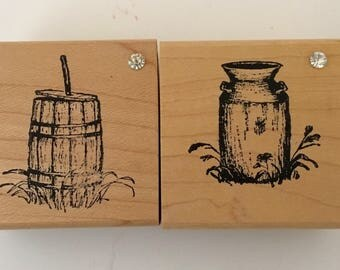 Rubber stamps Milk Can and Butter Churn