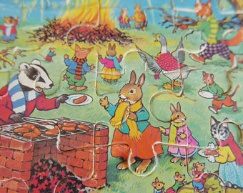 Vintage Wooden Jigsaw Puzzle -  Bunnyland Bonfire Night Fireworks