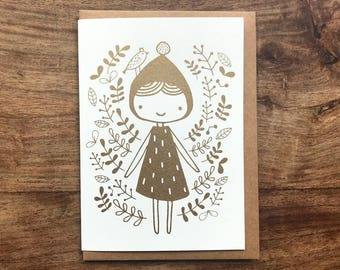 Bronze girl screen printed greeting card