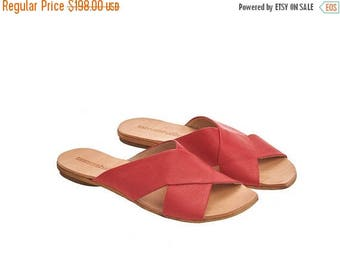 ON SALE Red sandals, Simone, Scarlet red leather, crossover sandals