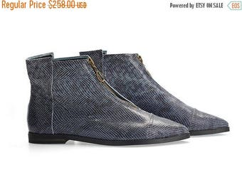 CIJ SALE BLACK Friday/Cyber Monday pre order Isabelle Blue animal print flat pointy ankle boots  handmade leather boots by Tamar Shalem
