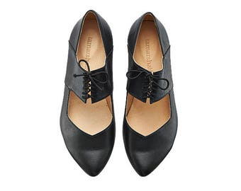 Black ballerina shoes, Vicky, Black leather flats