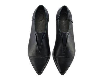Black handmade leather flats, Stella