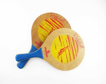 Two 'Rallyball' Paddles - Pressed/Laminated Wood Paddles - 'Sportcraft' - Made in Malaysia - Tennis For Beginners Paddles - Large Paddles