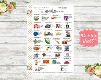 WH11 Celebrate November Planner Stickers - National Holiday Stickers - Special Days Stickers - Wacky Holiday Stickers - Holiday Stickers