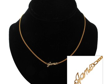 "Script Name Jane Charm Pendant Gold Tone Necklace 16"" Vintage 70s"