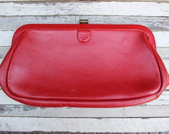 Vintage Cherry Red  Leather Clutch Metal Frame Purse