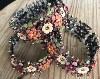French Painted Metal Flower and Crystal Link Bracelet