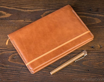 Rhodia A5 size hardcover Webnotebook / Rhodiarama cover - chesnut harness leather