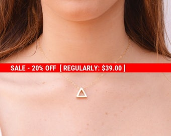 SALE 20% OFF Triangle necklace,Gold necklace,delicate necklace,dainty,geometric jewelry,triangle pendant necklace,gold filled -21221