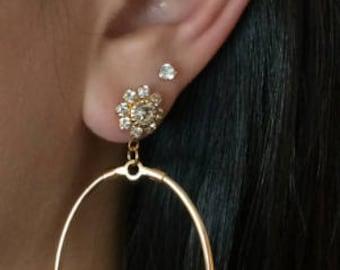 Oval Hoop Earring, Rhinestone Flower Earring, Gold Earring, Chandelier Earring