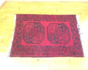 Vintage Red Afghan Fringed Scatter Rug, ca 1950s