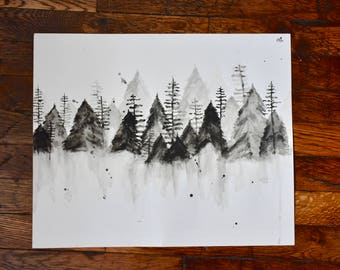 Mountains - Winter - Water Color - Wall Art - Evergreen Trees - Gray and White