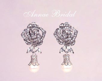 "Bridal clip on earrings, rhinestone rose clip earrings with pearl drop, ""Rose Romance"" earrings"