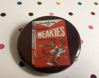 Weakies Cereal - Wacky Packages Sticker  - Button Badge 1.25 inch Flair Magnet - Book Lovers