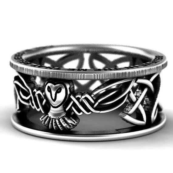 RESERVED FOR RedSquee Sterling Silver Owl Celtic Wedding Band With Side Engraving, Mens Wedding Band, Owl Jewelry, Custom Size CR-1016