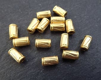 15 Diagonal Line Detail Tube Bead Spacers - 22k Matte Gold Plated