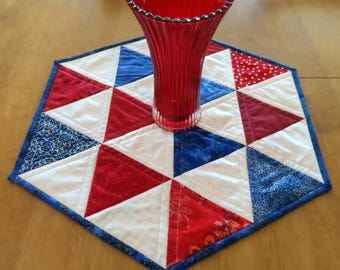 Patriotic table topper, quilted hexagon table runner, July 4th table quilt, patchwork triangles, red, white, blue, quiltsy handmade