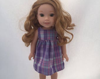 "Doll Clothes - 14.5"" Doll Clothes - Outfit for Dolls - Dress for Doll - Purple -Plaid - Wellie Wisher Dress"