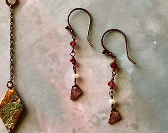 Ancient Fire & Ice earrings - FREE shipping! - Unique garnet, copper and pearl artisan earrings