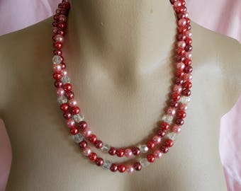 Vintage Multi Strand String Beaded Pink Necklace