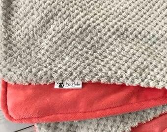 RESERVED MB- Girl's Baby Blanket • Baby Girl Snuggle Blanket • Minky Cuddle • Coral Gray • Baby • Blanket • Receiving • Girl • BizyBelle