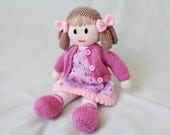 Doll Knitting Pattern, Instant Digital Download, Doll making tutorial, Little Dazzler Doll: Hannah, Soft Toy Knitting Pattern Knitted Doll