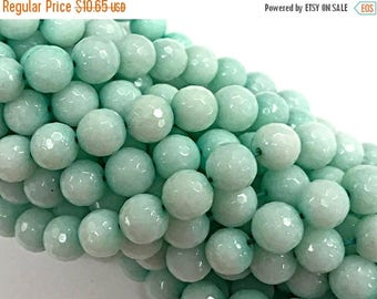 25% OFF 10mm Pacific Blue Jade - Dyed Blue - Faceted Round Gemstone Beads 15 Inch strand 37 Beads Blue Gemstones - SJA126
