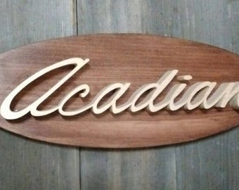 1968-72 Pontiac Acadian Emblem Oval Wall Plaque-Unique scroll saw automotive art created from wood.