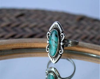 SAVE 50% off SALE Navajo Indian Oblong Blue Green Turquoise Stone Sterling Silver Ring with side Scroll Design