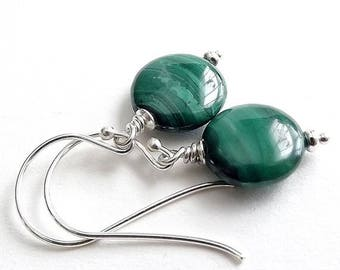 END Of SUMMER SALE Sterling Silver Earrings with Malachite Coin Beads