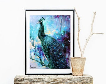Peacock paintings-print- Peacock wall art-peacock decor-peacock print-peacock wall decor-peacock prints-abstract art- wall art-giclee print