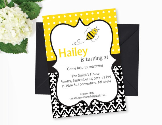 Bee birthday party invitation bumble bee birthday bee printables il570xn filmwisefo