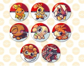 Generation 3  Fire type pokémon 38mm buttons