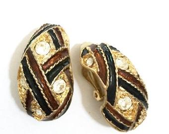 Enamel and Rhinestone Earrings, Brown and Black Enamel Basket Weave Pattern, Clear Round Rhinestones, Gold Tone Metal, Wide Half Hoop