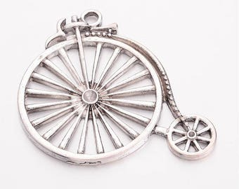 Bicycle pendant etsy pendant bike set of 2 53x46mm penny farthing charm bike aloadofball Gallery