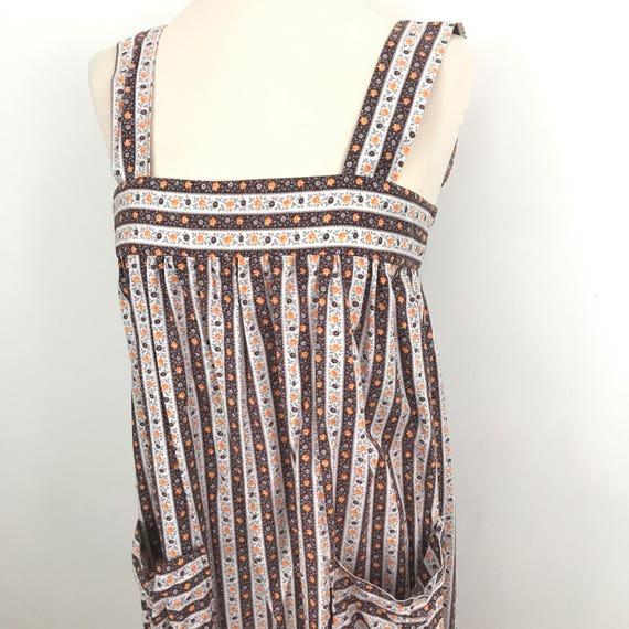 Vintage floral cotton dress Handmade sundress 1960s 1979s prairie stripe day chintzy summer UK 8 10 open tie back brown orange