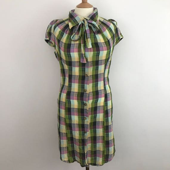 Vintage Vivienne Westwood plaid dress shirtdress body con hourglass vamp UK 12 14 pin up style checkered pussybow burlesque 46