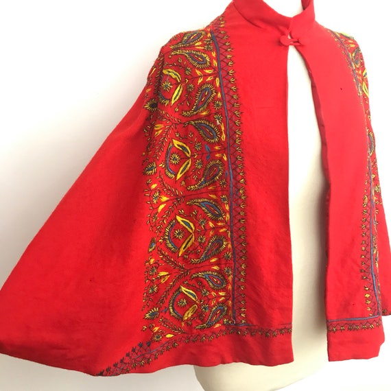 Vintage cape 1970s wool embroidered vest Afghan embroidery coat festival bohemian hippie red glastonbury UK 10 12