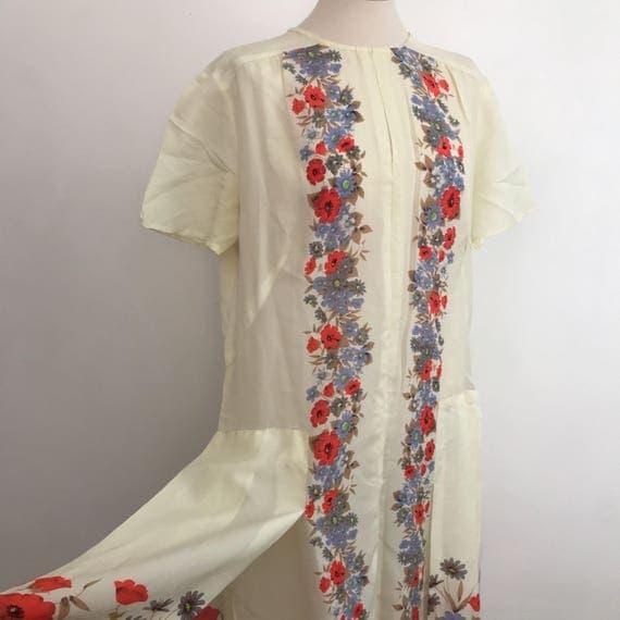 1920s style cream drop waist dress handmade floral print faux silk Vintage dress excellent 20s cut sundress UK 12 14 short sleeve summer