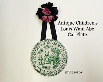 AnTIQUE ALLERTON ChILDREN'S Abc CAT PLATE, LoUIS WaIN artwork, GrEEN Transferware porcelain England 1890. Tennyson poem, Abc Learning pLATE